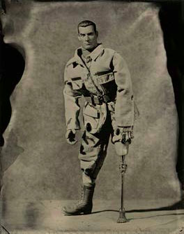 Soldier with Prosthesis, Wet-Plate Collodion Tintype