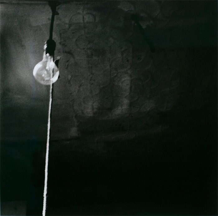 "Robert Rauschenberg, Ceiling + Light Bulb, 1950, digital ink jet print, 23"" x 23"" © The Robert Rauschenberg Foundation"
