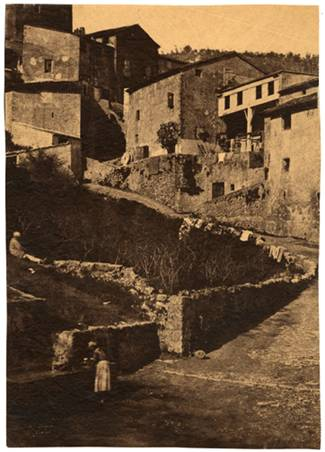 Une rue à Grasse, 1852. Waxed salt print from a waxed paper negative, 32.7 x 23.2 cm