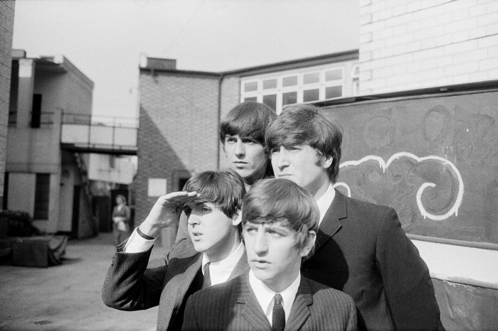 The Beatles on an outdoor photo-session in England 1964