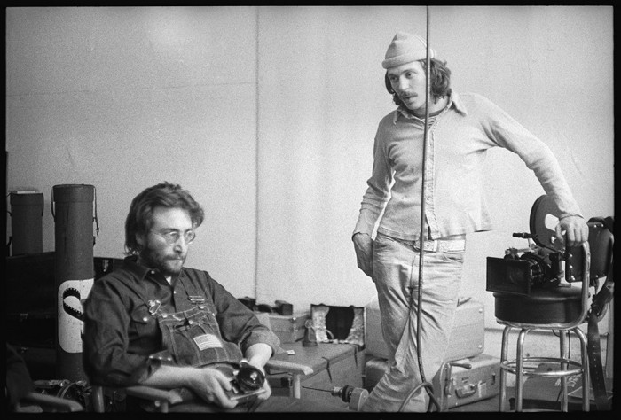 Danny Seymour with his Arriflex and John Lennon / Danny Seymour's loft, Bowery between Prince Street and Spring, 1970