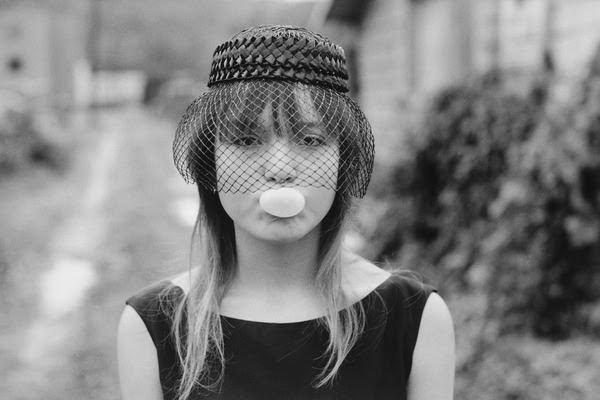 Tiny blowing a bubble, Seattle, 1983