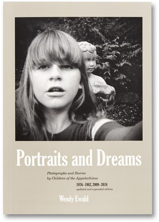 Black and white self portrait of a girl and a garden statue as the cover image of Portraits and Dreams by Wendy Ewald.
